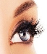 Woman eye with long eyelashes. Space for text.
